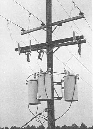 Figure 4-20.Cluster-mounted bank of transformers. on distribution transformer connectors, tesla coil wiring, distribution transformer parts, distribution transformer design, distribution transformer fans, distribution transformer installation, ac motor wiring, street light wiring, air compressor wiring, distribution transformer oil, distribution transformer fuses, distribution transformer grounding, voltage regulator wiring, distributor wiring, power supply wiring, switch wiring, distribution transformer plugs, capacitor wiring,