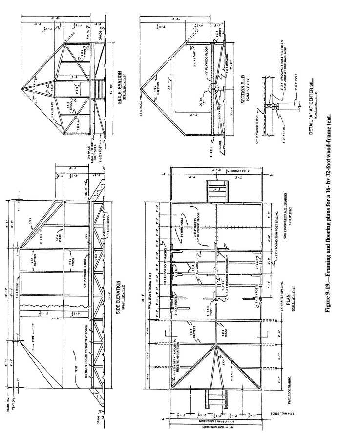Figure 9-19.Framing and flooring plans for a 16- by 32-foot wood ...