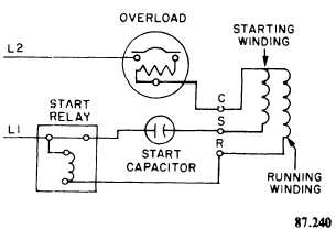 schematic wiring diagram of a capacitor-start induction-run motor