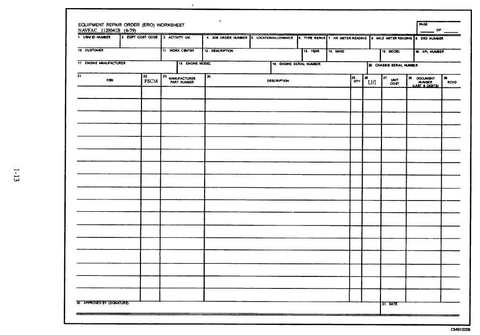 machine repair form template